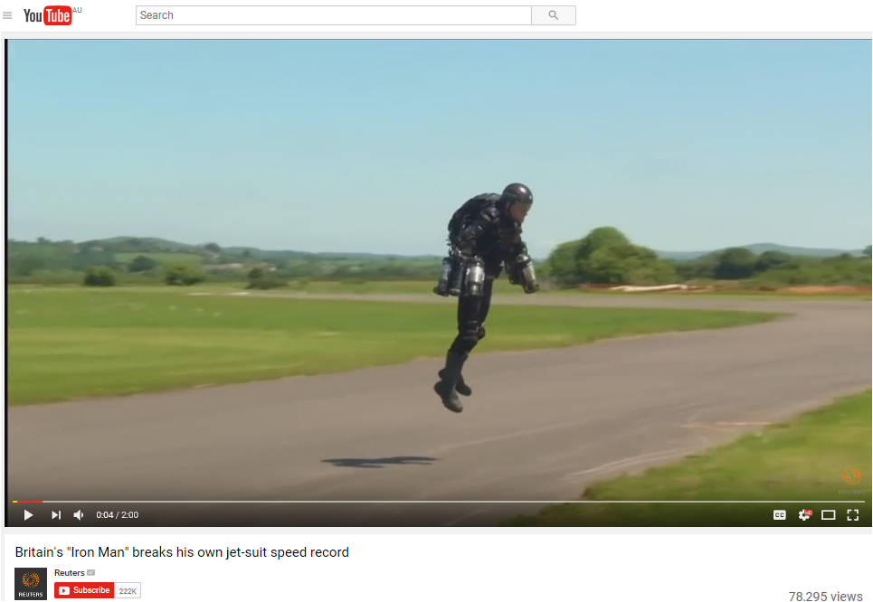 """Britain's """"Iron-Man"""" breaks his own jet suit record"""